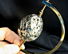 880 Carat Druzy Iron Pyrite Golden Egg + Stand - Cool