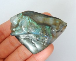 Wolf Carving,Natural Labradorite Carved Howling Wolf Cabochon For Jewelry M