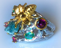 A Golden Bee with Gems Beautiful Ring 14kt Gold over Sterling Silver