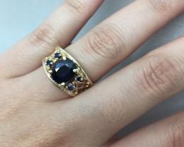 (B5) Amazing Cert. $2900 2.43tcw AAA Nat Blue Sapphire 14k Gold Ring