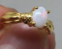 (B5) Cert $950 Nat 0.96ct Australian Opal Ring