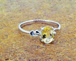 N/R Natural Citrine 925 Sterling Silver Ring Size 6 (SSR0123)