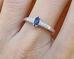 N/R Natural  Blue Sapphire 925 Sterling Silver Ring Size 5 (SSR0330)