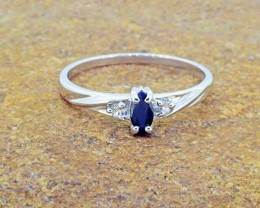 N/R Natural Midnight Blue Sap 925 Sterling Silver Ring Size 8 (SSR0334)