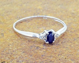 N/R Natural Blue Sapphire 925 Sterling Silver Ring Size 9 (SSR0336)