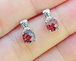 N/R Natural Garnet 925 Sterling Silver Earrings (SSE0326)