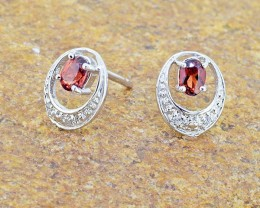 N/R Natural Garnet 925 Sterling Silver Earrings (SSE0325)