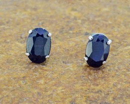 N/R Natural Black Sapphire 925 Sterling Silver Earrings (SSE0324)