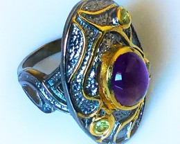 Etruscan Style Amethyst Peridot .925 Sterling Ring Gold Rhodium
