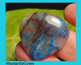 28mm Lightning Azurite cabochon with quartz from Arizona heart drop pear ca