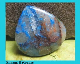 28mm Lightning Azurite cabochon with quartz from Arizona heart drop pear ca