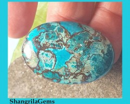 35mm chrysocolla oval cabochon with cuprite