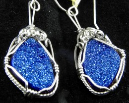 Pair of hand made Rainbow Druzy Quartz Ear rings  Made by Jim Fowler of New