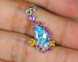 16.33Ct Sterling Silver925 Natural Topaz Citrine Amethyst Ruby Pendant V688