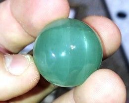 87.45 cts SEAFOAM GREEN AQUAMARINE CAT'S EYE CABOCHON