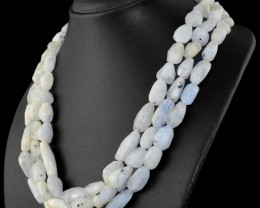 Genuine 805.00 Cts 3 Strands Moonstone Necklace