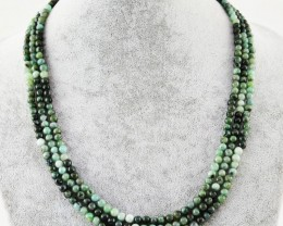 Genuine 240.00 Cts Untreated Emerald 3 Line Necklace