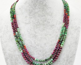 Genuine 265.00 Cts Ruby & Emerald Necklace