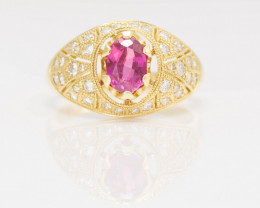 GIA Solid Gold Ring with Rare Tajik Ruby 1.28 ct