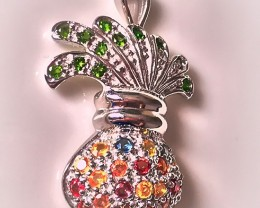 Bag of Wishes - Glorious Sapphire Chrome Diopside Sterling Pendant