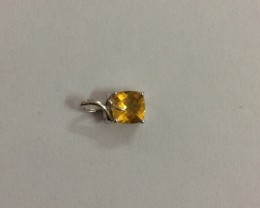 Checkerboard Citrine 925 sterling silver pendant #34293