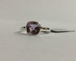 Checkerboard Amethyst 925 Sterling silver ring #644