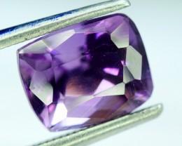 No Reserve - 2.65 carats Emerald Shape Cut Untreated Dark Blue color Amethy