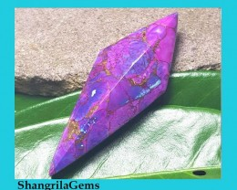 60mm Mojave turquoise purple faceted kite shape