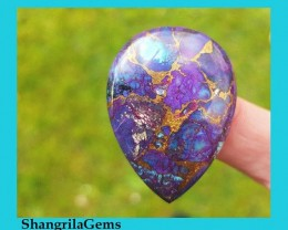 39mm Deep purple Mojave turquoise copper bronze turquoise heart pear shape