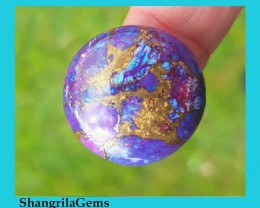 24mm Deep purple Mojave turquoise copper bronze round cabochon