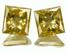 6.09 Cts Natural Fancy Yellow Diamond 2 Pcs Princess Cut Africa