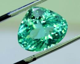 10.10 cts Curved Trillion Cut Lush Green Spodumene Gemstone From Afghanista