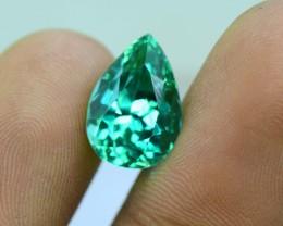 7.00 cts Pear Shape Cut Lush Green Spodumene Gemstone From Afghanistan (S)