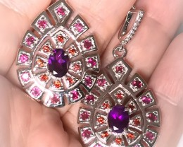 Stunning Rhodolite Mozambique Garnet Gem Earrings Sterling Silver 14kt Whit