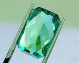 10.80 cts French Cut Lush Green Spodumene Gemstone From Afghanistan (S)