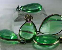 5 Pcs 171 CT Natural - Unheated Green Fluorite Pendant