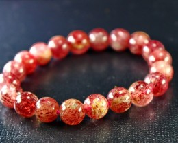 151CT Natural Cherry Quartz Bracelets Carved Beads Stone Special Shape