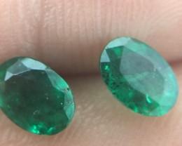 (B3) Superb UGL Cert. Nat $360 Matching Pair 1.52tcw Colombian Emeralds
