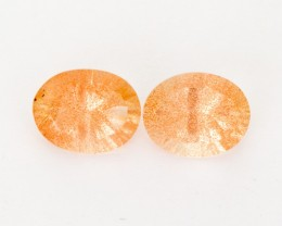 3.25ct Total Weight Peach Oval Sunstone Pair (S2511)