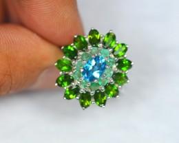 31.04Ct Sterling Silver925 Natural Topaz Emerald Chrome Diopside Ring V736