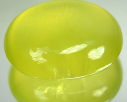 17.24 Cts Natural Lime Green Prehenite Oval Cabochon Guinea Gem