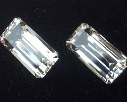 10.25 CTS DELUXE REAL WHITE TOPAZ OCTAGON CUT-NICE PAIR