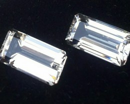 10.95 CTS DELUXE REAL WHITE TOPAZ OCTAGON CUT-NICE PAIR