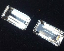 11.00 CTS DELUXE REAL WHITE TOPAZ OCTAGON CUT-NICE PAIR