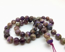 180.45 Crt Natural Charoite Round Beads Strand Excellent Quality