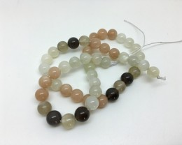 162.85 Crt Natural Multi-Color Moon Stone Round Beads Strand Excellent Qual