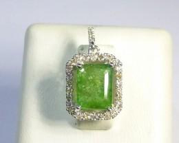 White Gold Diamond Pendant Set with 2.04CT Emerald