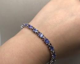 (B5) SplendidNat 69.65tcw. Tanzanite & Rhodolite Garnet Bracelet