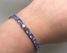 (B5) Sublime 46.3tcw. Nat Top Rich Violet Blue Tanzanite Bracelet