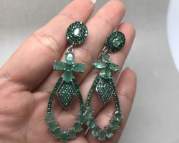 (B5) Astounding Nat 63.25tcw. Brazilian Emerald CZ Earrings